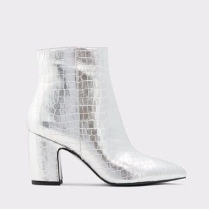 Celivia Silver Ankle Booties w Block Heel